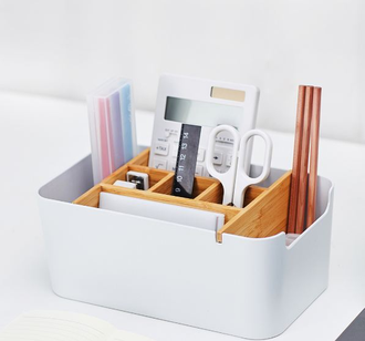 Органайзер Xiaomi Large capacity bamboo fiber desktop storage box
