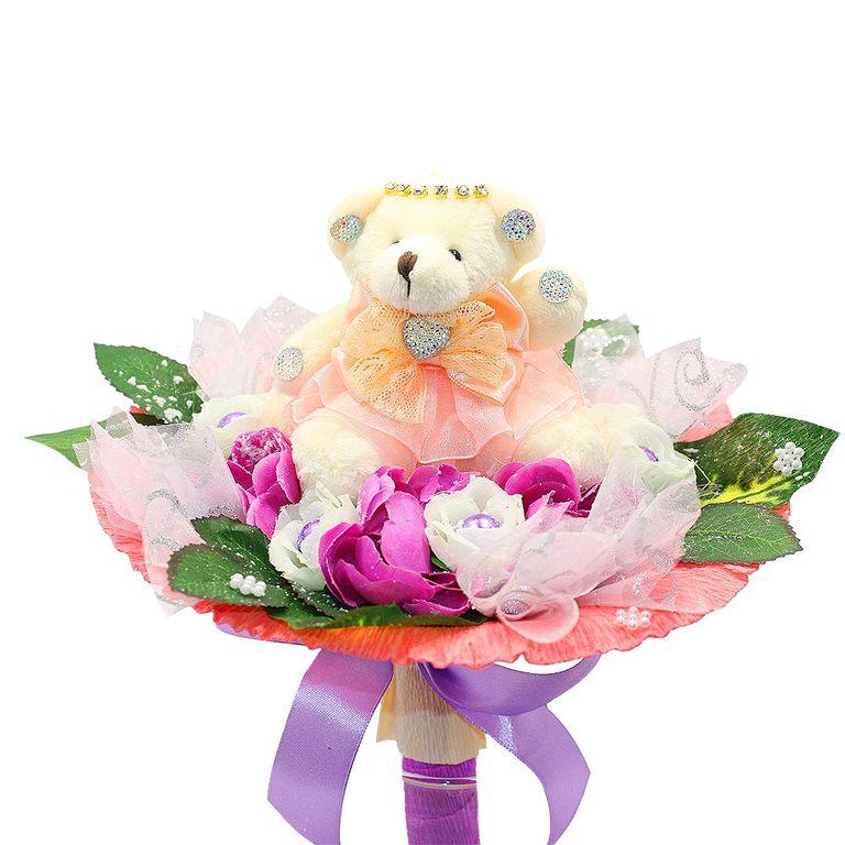 Поздравительные букеты для детей из мягких игрушек, цветов которые