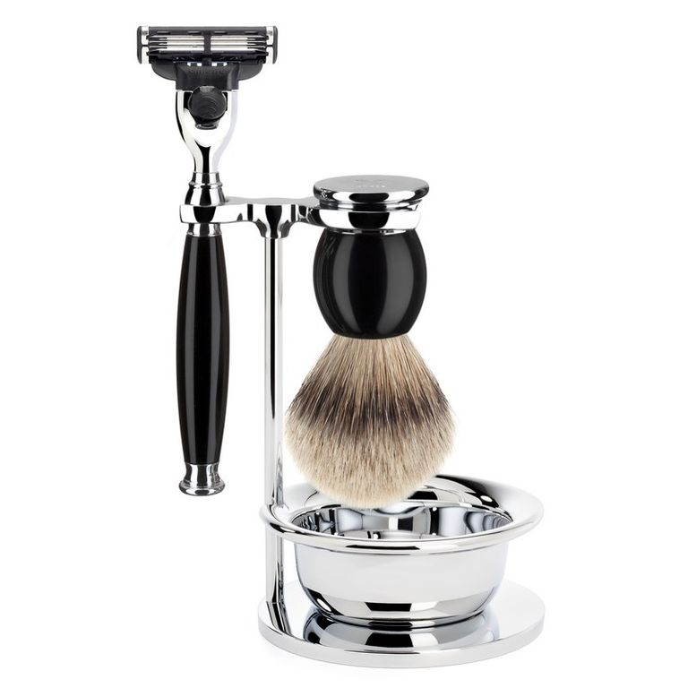 Бритвенный набор Muehle Sophist, черная смола, барсучий ворс высшей категории Silvertip, бритва Mach3, чаша