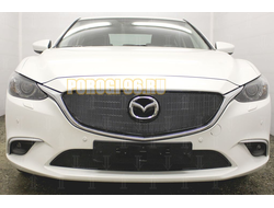 Защита радиатора Mazda 6 2015-2018 (Supreme, Supreme Plus, Executive) black верх PREMIUM