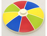Dish 4 x 4 Inverted Radar with Solid Stud with Stripes Red/Blue/Yellow/Lime Pattern, White (3960pb043 / 6217974)