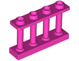 Fence 1 x 4 x 2 Spindled with 4 Studs, Dark Pink (15332 / 6223619)