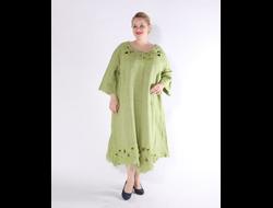 b2416b19ece61f0 Платье из зеленого льна с вышивкой Наталья Гайдаржи АРТ - ПВЗ1004/НА ЗАКАЗ