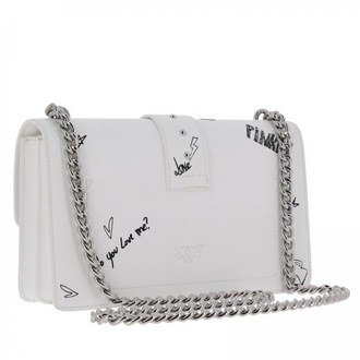 Pinko Love Graffiti Shoulder White Leather MINI