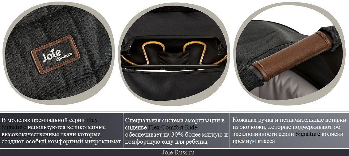 вставкам из эко-кожи в моделях премиальной серии Joie flex signature