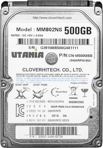 "HDD Жесткий диск 2.5"" SATA-III UTania 500Gb 128Mb 5400 rpm Slim"