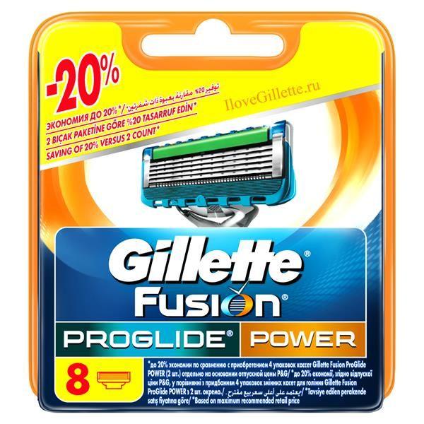 Сменная кассета Gillette Fusion ProGlide Power, 8 шт