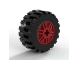 Wheel 18mm D. x 14mm with Axle Hole, Fake Bolts and Shallow Spokes with Black Tire 30.4 x 14 Offset Tread Band Around Center of Tread 55982 / 92402, Red (55982c05)