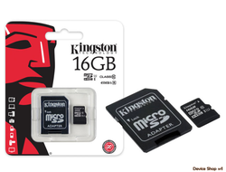 MicroSD Kingston Class 10 16 GB + ADAPTER