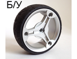 ! Б/У - Wheel 70 x 28 mm Futuristic with Black Tire 70 x 28 mm Futuristic 32077 / 32078, Metallic Silver (32077c01) - Б/У