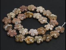 Бусина Агат моховый, дендритовый, розовый, цветок 15*15*6 мм, Бразилия (1 шт) №20940