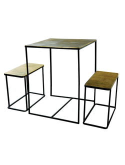 Набор   из 3 столиков SIA TABLE W/2 NESTING BENCHES S/3, H75/W59.5 - W25.5/L51 , 570333 ,