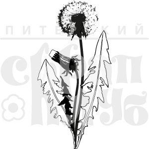 Штамп одуванчик с бутоном и созревшим цветком