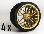 Wheel 62.3mm D. x 42mm Technic Racing Large with 10 'Y' Spokeswith Tire 81.6 x 44 ZR Technic Straight Tread, (23799 / 6139227). 4x, Metallic Gold (68577 / 6306718)