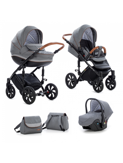 Универсальная коляска Tutis Zippy Mimi Style  (3 в 1) Цвет 332 Серый лен/Серый ромб/Кожа коричневая