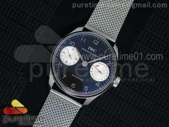Portuguese Real PR SS IW5001 YLF Best Edition Black/White Dial on SS Mesh Bracelet