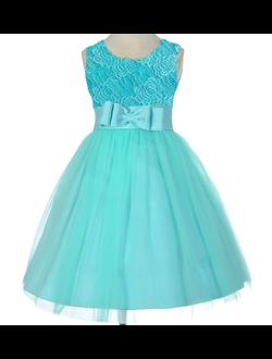 e7900e3905e Фото Бирюзовое платье по колено для девочки из кружевного гипюра и шифона с  пышной юбкой