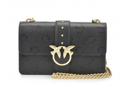 Pinko Love Bag Black Leather with embossed logo