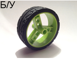! Б/У - Wheel 41 mm Znap Thin Tread with Black Tire 41 mm Directional Tread, Lime (32247c01) - Б/У