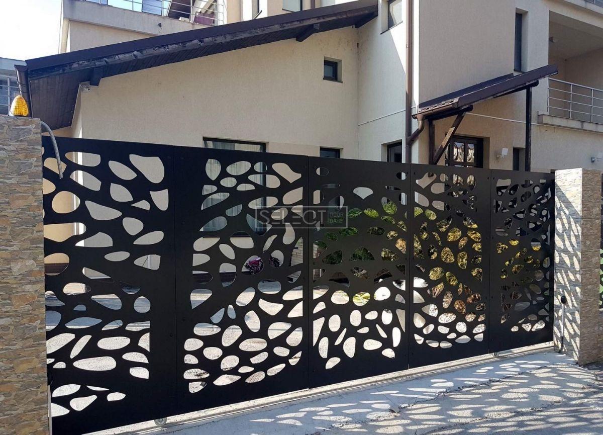 уличные въездные ворота - откатные конфигурации - оцинкованная сталь