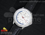 Portuguese Automatic Yacht Club SS White Dial Red Hand on Black Leather Strap