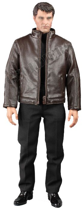 Комплект одежды с курткой + кобура и пистолет P226 - 1/6 scale Spy killer leather jacket (V1013 B) - VORTOYS (БЕЗ ТЕЛА И ГОЛОВЫ)