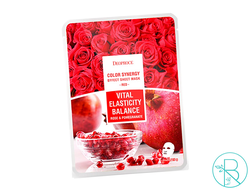 Маска тканевая Deoproce Color Synergy Effect Sheet Mask Red с экстрактами граната и лепестков роз