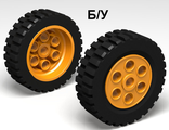 ! Б/У - Wheel 30mm D. x 13mm (13 x 24 Model Team), with Black Tire 13 x 24 Model Team (2695 / 2696), Medium Orange (2695c01) - Б/У