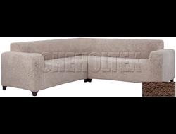 Чехол Велсофт на угловой диван, цвет Кофе с молоком
