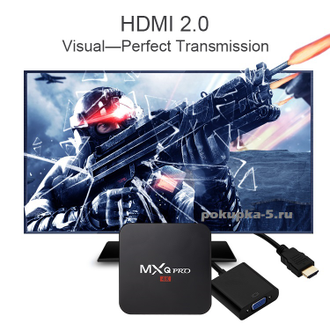 MXQ Pro. Amlogic S905. 1 Гб / 8 Гб. Интернет ТВ приставка. HDMI 2.0, WiFi, LAN, Android 5.1. Все в одном.