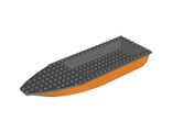 Boat, Hull Unitary 28 x 8 Base with Dark Bluish Gray Boat Hull Unitary 28 x 8 Top 92710 / 92711, Orange (92710c01 / 6097307)
