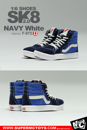 Кеды (кроссовки) 1/6 SK8 SHOES 2.0 NAVY White (F-072) - SuperMCToys