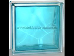 Стеклоблок Vitrablok окрашенный внутри волна бирюза