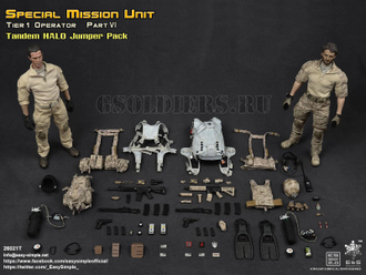 Парашютист и пассажир ФИГУРКИ 1/6 scale SMU Part VI Tandem HALO Jumper Pack (26021T) Easy&Simple