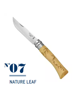 Нож Opinel №7 Nature Leaf inox, самшит, гравировка листья