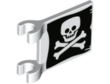 Flag 2 x 2 Square with Flat Skull and Crossbones Jolly Roger Pattern on Both Sides, White (2335pb212 / 6317075)