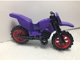 Motorcycle Dirt Bike with Black Chassis and Red Wheels, Dark Purple (50860c08)