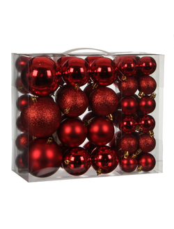 Нaбoр красных плacтикoвых шaров Christmas Ornaments 46шт (диаметр 4-8см)