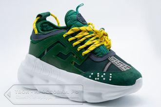 3e093444 Купить кроссовки Versace Chain Reaction женские зеленые с желтым арт ...