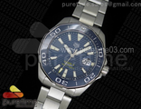 Aquaracer Calibre 5 Blue SS MKF 1:1 Best Edition Textured Dial Ceramic Bezel on SS Bracelet