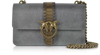 Pinko Grey Love Python Western Shoulder Bag