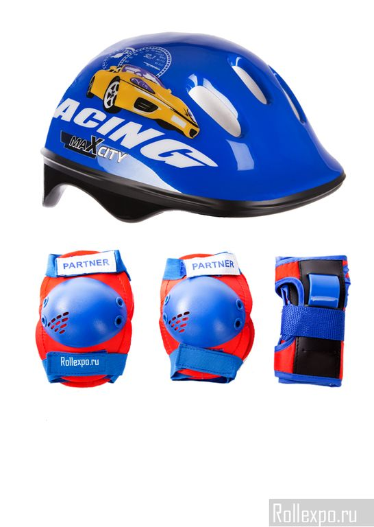 Набор защиты для детей MaxCity Baby Racing (синий/красный)