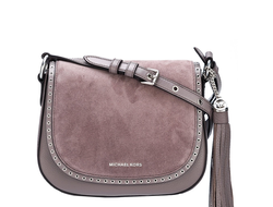 Сумка Michael Kors Brooklyn saddle bad (серая)