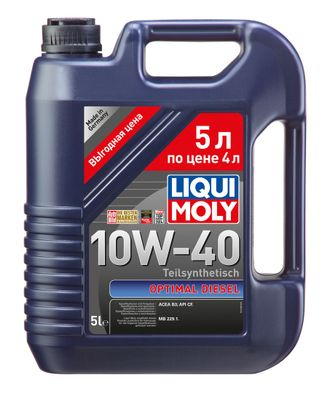 МАСЛО МОТОРНОЕ LIQUI MOLY HC-СИНТ.OPTIMAL DIESEL 10W40 5Л. П/СИН. КОД 2288/3934