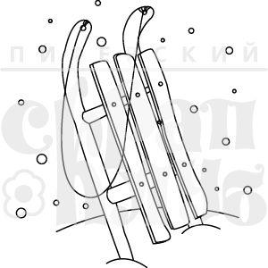 Штамп для скрапбукинга санки в снегу нарисованные рисунок