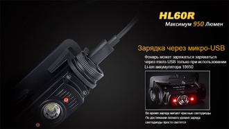 Налобный фонарь Fenix HL60R CREE XM-L2 U2 NEUTRAL WHITE LED