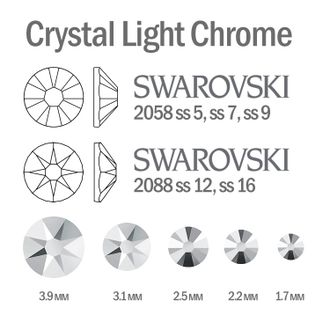 Мини-микс страз для маникюра Crystal Light Chrome - 30шт