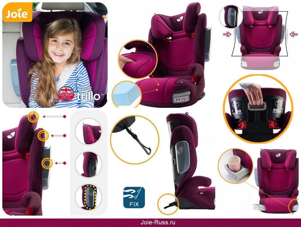 Преимущества и особенности: детское автокресло Joie Trillo LX предназначено для детей