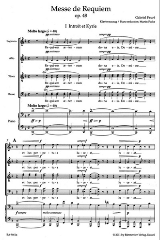 Faure Requiem op. 48 Vocal Score (Version of 1900)