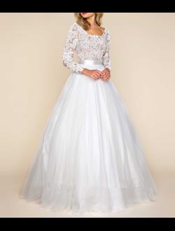Пышное свадебное платье большого размера с рукавом